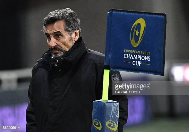 Montpellier's rugby club President Mohed Altrad walks on the pitch prior to the European Champions Cup rugby union match between Montpellier and...