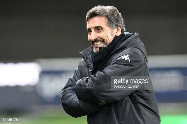 Montpellier's rugby union club President Mohed Altrad smiles prior to the French Top14 rugby union match between Montpellier and Lyon on November 12...