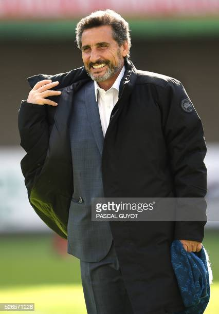 Montpellier's rugby union club President Mohed Altrad waits for the start of the French Top 14 rugby union match between Montpellier and Grenoble on...