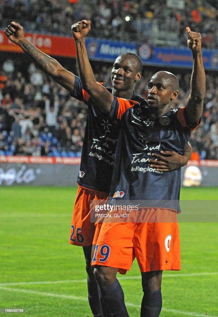 Montpellier's Senegalese forward Souleymane Camara (R) celebrates after scoring a penalty during the French L1 football match Montpellier vs Brest on May 4, 2013 at the Mosson stadium in Montpellier, southern France.