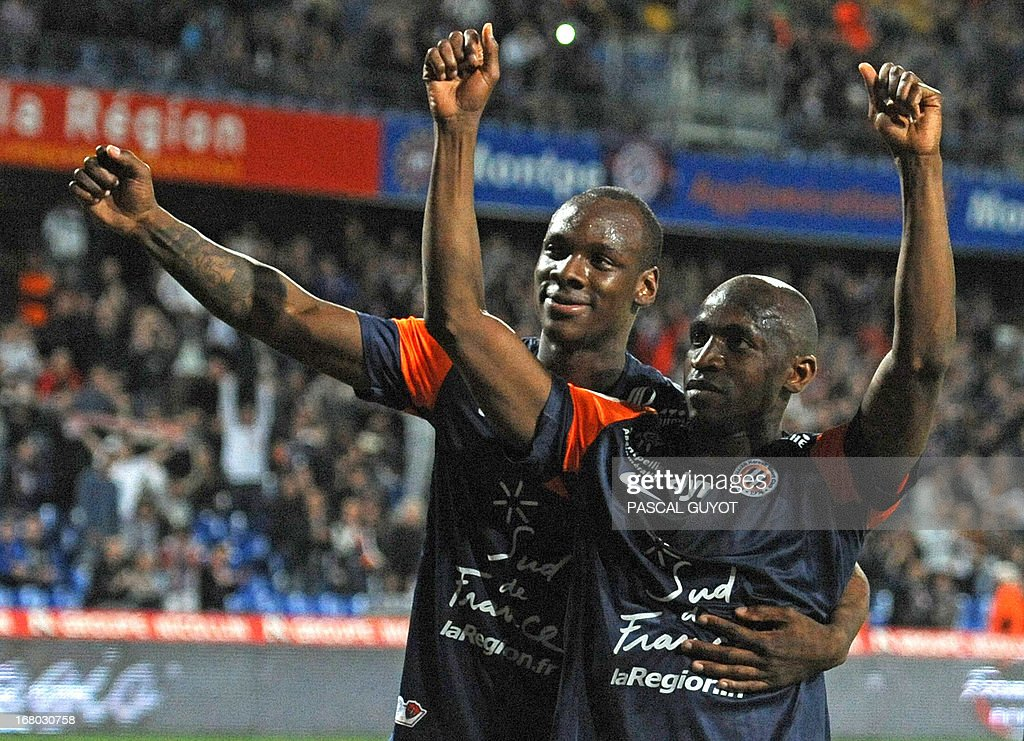 Montpellier's Senegalese forward Souleymane Camara (R) celebrates after scoring a penalty during the French L1 football match Montpellier vs Brest on May 4, 2013 at the Mosson stadium in Montpellier, southern France. AFP PHOTO / PASCAL GUYOT