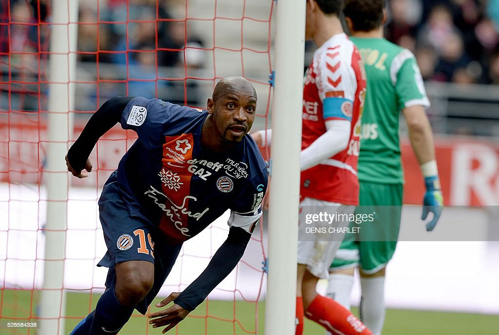 Montpellier's Senegalese forward Souleymane Camara celebrates after scoring a goal during the French L1 football match between Reims (SDR) and Montpellier (MHSC) on April 30 2016, at the Auguste Delaune Stadium in Reims, eastern France.