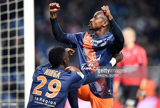 Montpellier's Senegalese forward Souleymane Camara celebrates with Montpellier's Chadian forward Casimir Ninga after scoring a goal during the French...