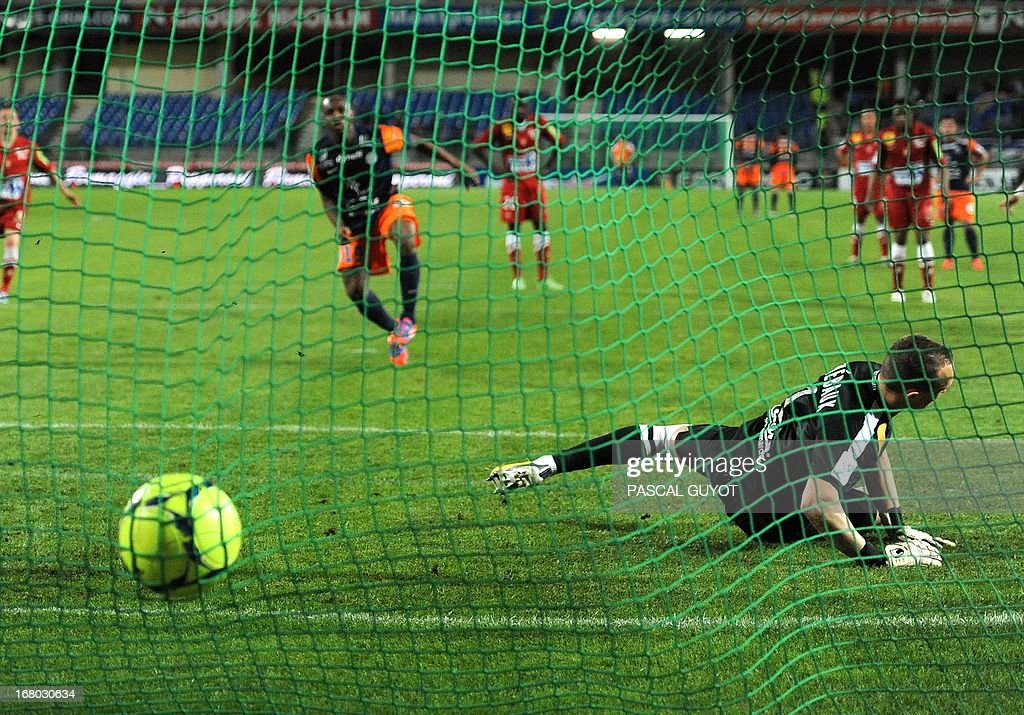 Montpellier's Senegalese forward Souleymane Camara scores from a penalty during the French L1 football match Montpellier vs Brest on May 4, 2013 at the Mosson stadium in Montpellier, southern France. AFP PHOTO / PASCAL GUYOT