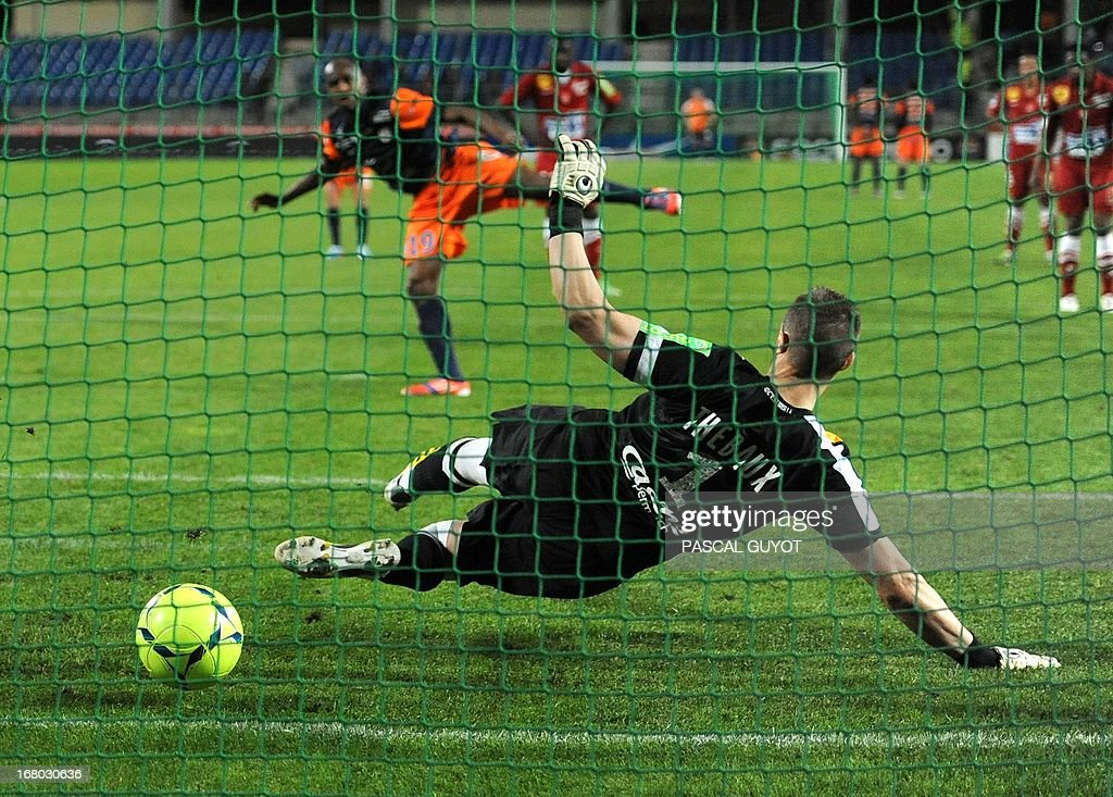 Montpellier's Senegalese forward Souleymane Camara scores from a penalty during the French L1 football match Montpellier vs Brest on May 04, 2013 at the Mosson stadium in Montpellier, southern France.