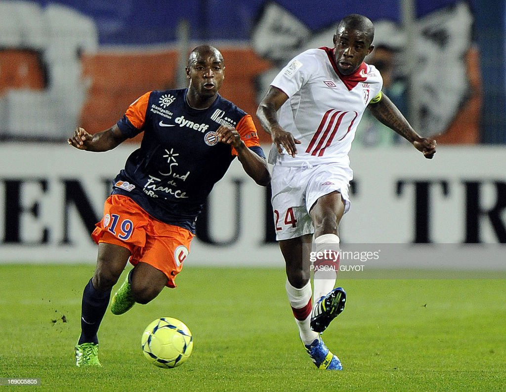 Montpellier's Senegalese forward Souleymane Camara (L) vies with Lille's French midfielder Rio Mavuba (R) during the French L1 football match Montpellier vs Lille on May 18, 2013 at the Mosson stadium in Montpellier, southern France.