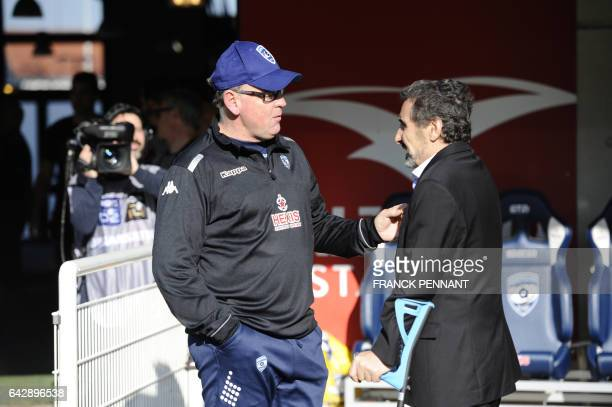 Montpellier's South African head coach Jake White speaks with Montpellier's French president Mohed Altrad prior to the the French Top 14 rugby union...
