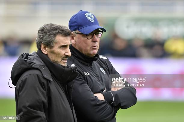 Montpellier's South African head coach Jake White speaks with Montpellier's SyrianFrench President Mohed Altrad before the French Top 14 rugby union...