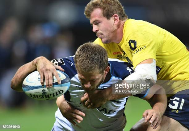 Montpellier's South African number eight Francois Steyn scores a try during the French Top 14 rugby union match between Montpellier and Clermont on...