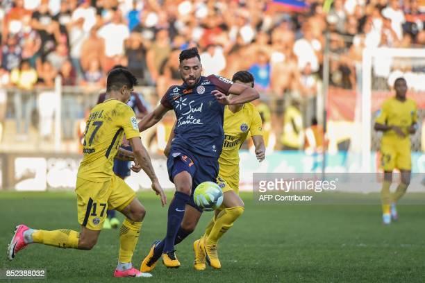 Montpellier's Uruguayan midfielder Facundo Piriz outruns Paris SaintGermain's Spanish defender Yuri Berchiche during the French Ligue 1 football...