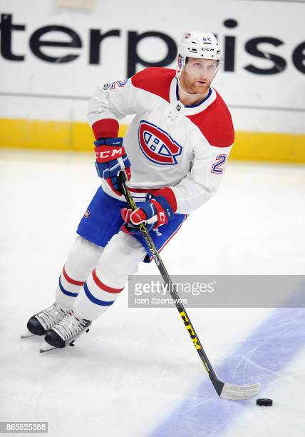 Montréal Canadiens defenseman Karl Alzner on the ice during the pre skate before a game against the Anaheim Ducks on October 20 played at the Honda...