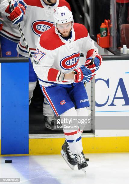 Montréal Canadiens leftwing Alex Galchenyuk skates onto the ice for the pre skate before a game against the Anaheim Ducks on October 20 played at the...