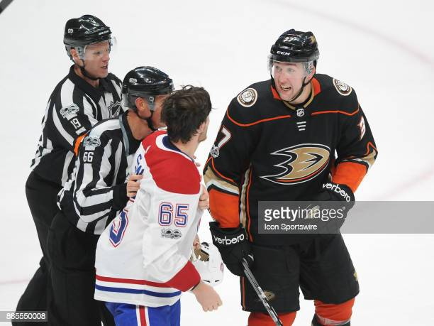 Montréal Canadiens rightwing Andrew Shaw and Anaheim Ducks leftwing Nick Ritchie exchange words during the third period of a game played on October...