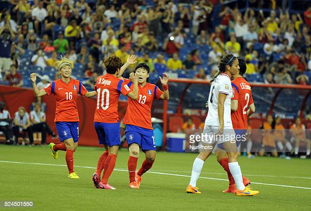 Montr��al June 13 2015 Korea Republic celebrates after scoring during the group E match between the KOREA REPUBLIC and Costa Rica at the 2015 FIFA...