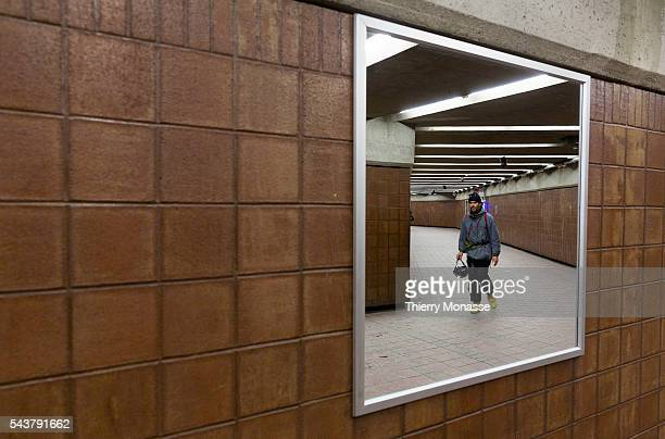 Montréal Québec Canada January 5 2016 A man is walking in the Montreal Metro The Métro de Montréal is a rubbertired underground metro system and the...