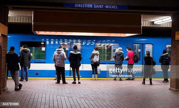 Montréal Québec Canada January 5 2016 Passengers are waiting for a train in Snowdow metro station in the Montreal Metro The Métro de Montréal is a...