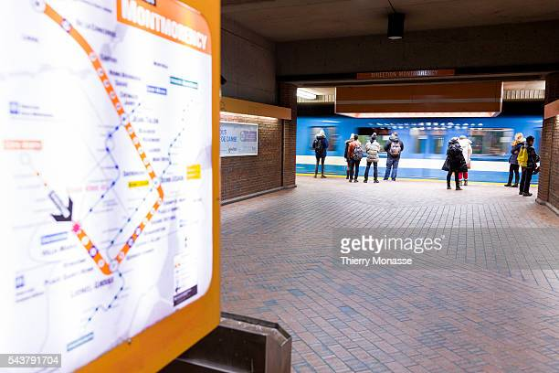 Montréal Québec Canada January 5 2016 Passengers are waiting for their train in the Montreal Metro The Métro de Montréal is a rubbertired underground...