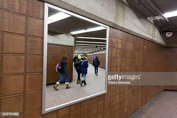 Montréal Québec Canada January 5 2016 Passengers are walking in the Montreal Metro The Métro de Montréal is a rubbertired underground metro system...