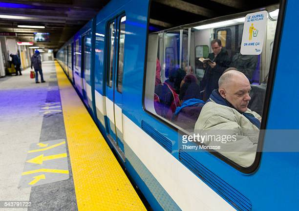 Montréal Québec Canada January 5 2016 Passengers travel in the metro in the 'Place d'armes' metro station in the Montreal Metro The Métro de Montréal...