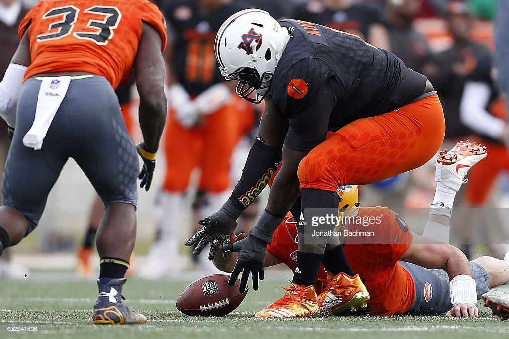 Montravius Adams #1 of the South team recovers a fumble during the second half of the Reese's Senior Bowl at the Ladd-Peebles Stadium on January 28, 2017 in Mobile, Alabama.