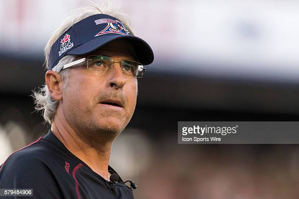 Montreal Alouettes head coach and general manager Jim Popp prior to a CFL game between the BC Lions and the Montreal Alouettes at the Percival Molson...