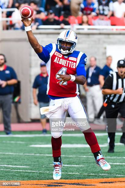 Montreal Alouettes quarterback Darian Durant about to pass the ball during the Saskatchewan Roughriders versus the Montreal Alouettes game on June 22...