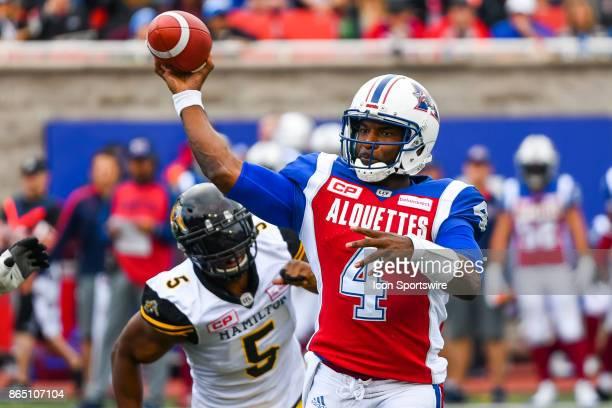 Montreal Alouettes quarterback Darian Durant passes the ball during the Hamilton TigerCats versus the Montreal Alouettes game on October 22 at...