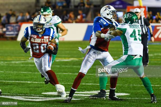 Montreal Alouettes running back Tyrell Sutton running pass Saskatchewan Roughriders coverage during the Saskatchewan Roughriders versus the Montreal...