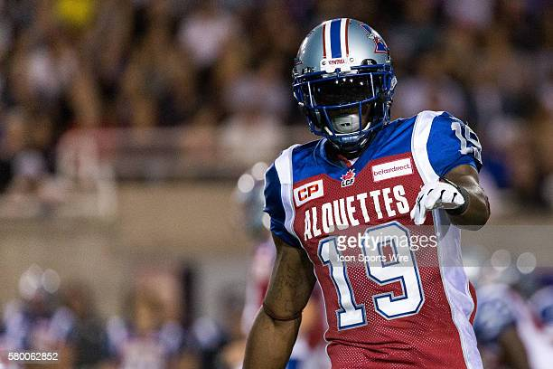 Montreal Alouettes slotback SJ Green points at the referee during a CFL game between the BC Lions and the Montreal Alouettes at the Percival Molson...