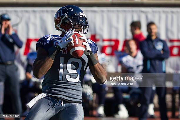 Montreal Alouettes slotback SJ Green throws the ball during the game between the Toronto Argonauts and the Montreal Alouettes at the Percival Molson...