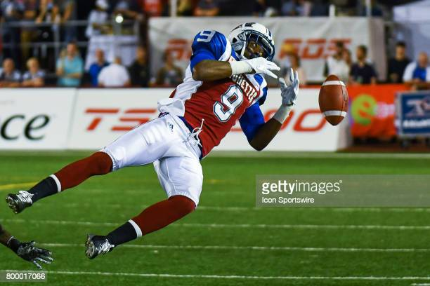 Montreal Alouettes wide receiver Ernest Jackson missing a catch during the Saskatchewan Roughriders versus the Montreal Alouettes game on June 22 at...