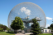 The geodesic dome called Biosphère is a museum in Montreal dedicated to water and the environment. It is located at Parc Jean-Drapeau, on Saint Helen's Island in the building of the United States pavi