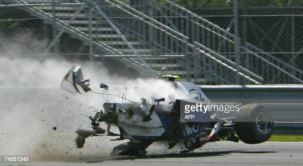 BMW Sauber driver Robert Kubica of Poland crashes hard at the hairpin turn during the Formula One Grand Prix of Canada 10 June 2007 in Montreal...