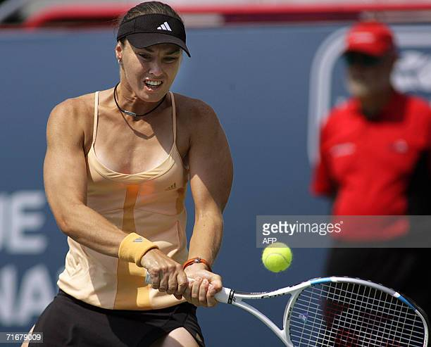 Martina Hingis of Switzerland hits a backhand on her way to a 63 31 semifinal win over Anna Chakvetadze of Russia at the Rogers Cup women's tennis...