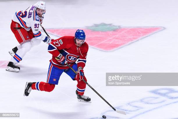 Montreal Canadiens center Alex Galchenyuk chasing the puck during game 2 of the first round of the 2017 NHL Stanley Cup Playoffs between the New York...
