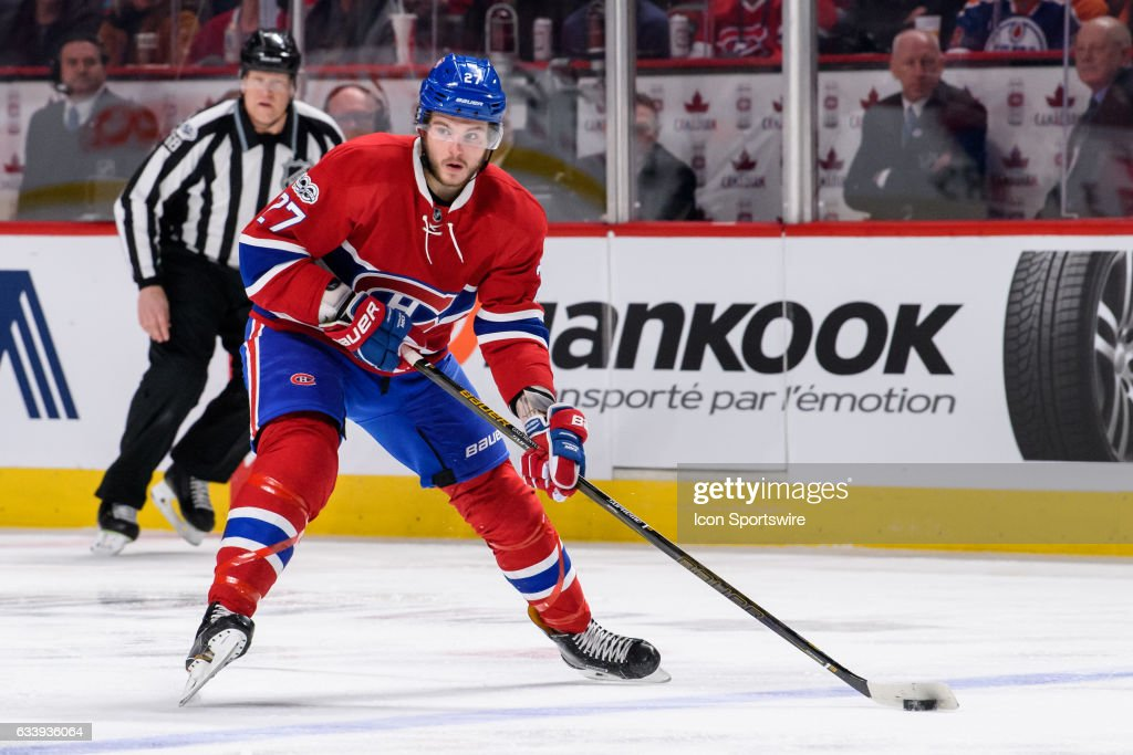 Montreal Canadiens center Alex Galchenyuk (27) enters the Oilers zone during the first period of the NHL regular season game between the Edmonton Oilers and the Montreal Canadiens on February 05, 2017, at the Bell Centre in Montreal, QC