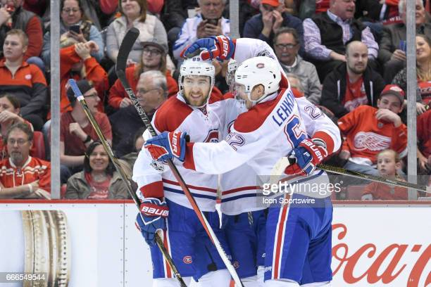 Montreal Canadiens center Alex Galchenyuk gets congratulated on his game winning goal in overtime during the NHL hockey game between the Montreal...