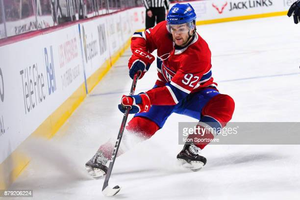 Montreal Canadiens Center Jonathan Drouin breaks to gain control of the puck during the Buffalo Sabres versus the Montreal Canadiens game on November...
