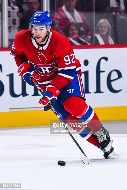 Montreal Canadiens Center Jonathan Drouin controls the puck during the Toronto Maple Leafs versus the Montreal Canadiens game on October 14 at Bell...