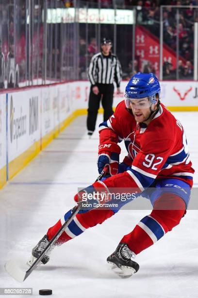 Montreal Canadiens Center Jonathan Drouin gains control of the puck during the Buffalo Sabres versus the Montreal Canadiens game on November 25 at...