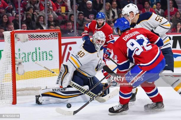 Montreal Canadiens Center Jonathan Drouin shoots on Buffalo Sabres Goalie Robin Lehner during the Buffalo Sabres versus the Montreal Canadiens game...