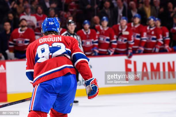 Montreal Canadiens center Jonathan Drouin skates back to the bench after scoring the 2nd goal of the Montreal Canadiens during the first period of...