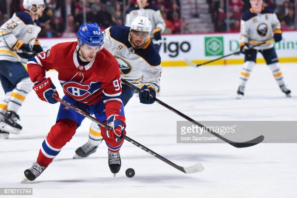 Montreal Canadiens Center Jonathan Drouin skates in control of the puck during the Buffalo Sabres versus the Montreal Canadiens game on November 25...