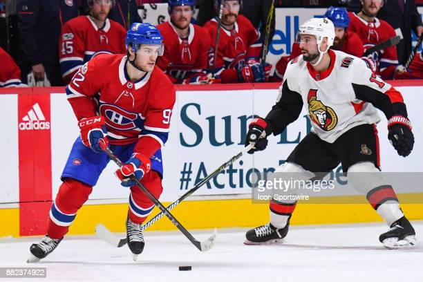 Montreal Canadiens Center Jonathan Drouin skates in control of the puck at the red line during the Ottawa Senators versus the Montreal Canadiens game...