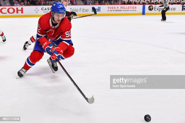 Montreal Canadiens Center Jonathan Drouin skates towards the puck during the Ottawa Senators versus the Montreal Canadiens game on November 29 at...