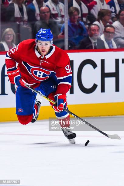 Montreal Canadiens Center Jonathan Drouin skates while controlling the puck during the Toronto Maple Leafs versus the Montreal Canadiens game on...