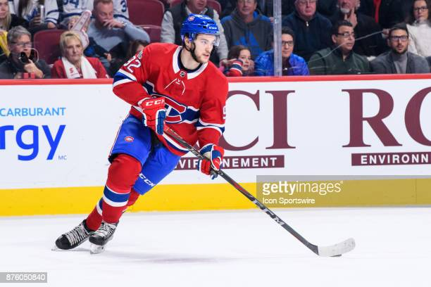 Montreal Canadiens center Jonathan Drouin skates with the puck during the first period of the NHL game between the Toronto Maple Leafs and the...