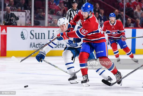Montreal Canadiens center Jonathan Drouin tries to get by Toronto Maple Leafs left wing Matt Martin during the second period of the NHL game between...
