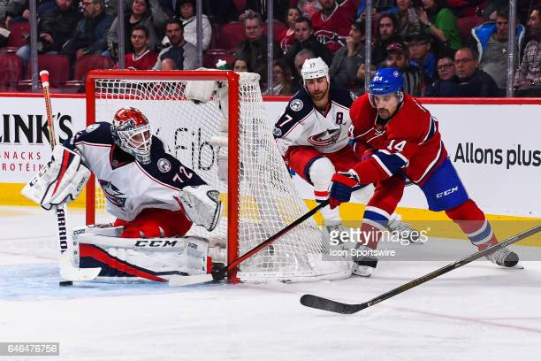 Montreal Canadiens Center Tomas Plekanec going around the net to shoot on Columbus Blue Jackets Goalie Sergei Bobrovsky during the Columbus Blue...