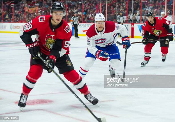 Montreal Canadiens centre Byron Froese skates during the NHL preseason game between the Ottawa Senators and the Montreal Canadians on September 23...